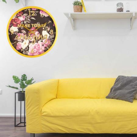 Ceas de perete model Make today amazing, fundal negru cu flori, Pufo