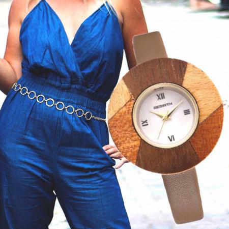 Ceas elegant de dama Rebirth, cadran lemn, model deosebit, bej