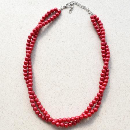 colier elegant cu perle acrilice rosii