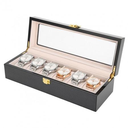 Cutie caseta din lemn pentru depozitare si organizare 6 ceasuri, model Pufo Luxury