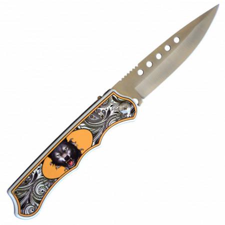 Cutit briceag 24 cm, model Angry Wolf cu buton deschidere si sistem de blocare lama