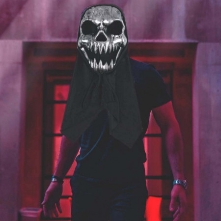 Masca de Halloween in forma de cap de schelet cu gluga, argintiu/negru, Pufo