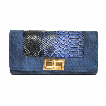 Portofel elegant de dama albastru cu imprimeu tip crocodil