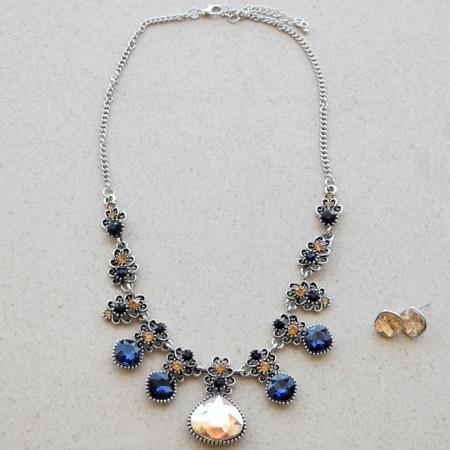 Set colier statement si cercei cu cristale bleumarin, Blue touch