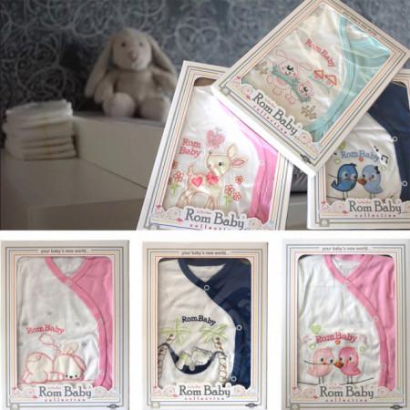 Set nou nascuti 0-3 luni 100% bumbac din 5 piese: pantaloni cu botosel, bluzita cu capse, bavetica, caciulita, manusi, model alb/albastru cu pasarele