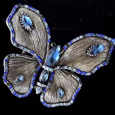rosa dama eleganta in forma de fluture mare cu pietricele bleumarin, Royal blue butterfly