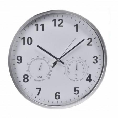 ceas de perete ce indica gradele si umiditatea in camera