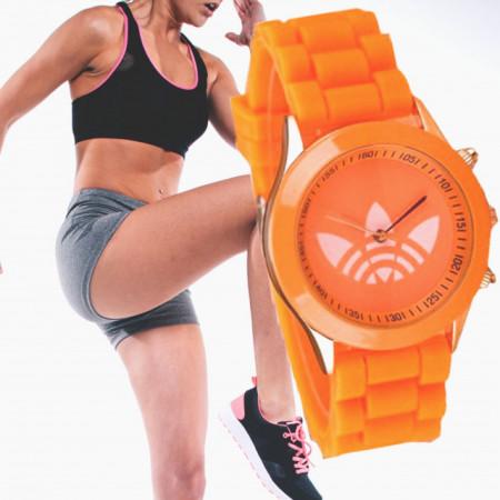 Ceas sport de dama, curea silicon - portocaliu