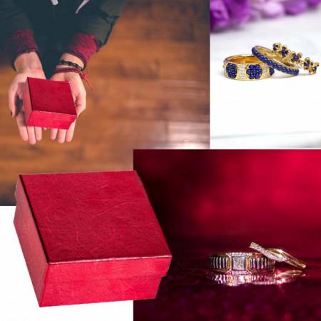 Cutie bijuterii mica cu capac pentru inel sau cercei, rosu (set 10 buc)