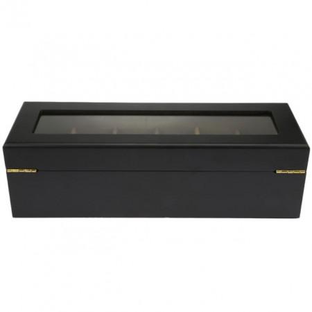 Cutie caseta din lemn pentru depozitare si organizare 6 ceasuri, model Pufo Imperial, negru mat
