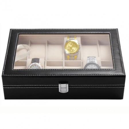 Cutie caseta eleganta depozitare cu compartimente pentru 12 Ceasuri