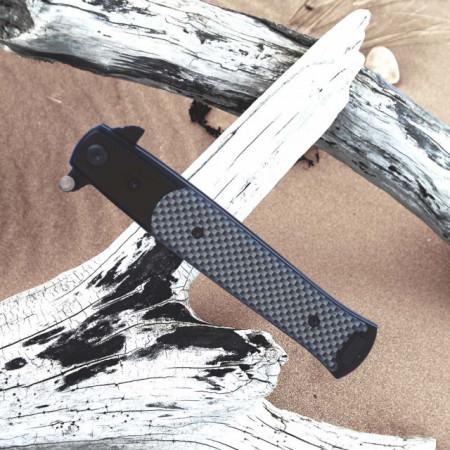 Cutit briceag de buzunar 22.5 cm, model Black Mosaic Print cu lama stilet si sistem blocare lama