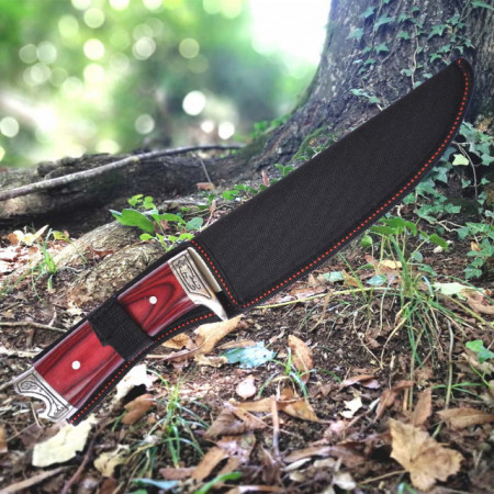 Cutit de vanatoare 31 cm cu teaca inclusa, model Red Wolf