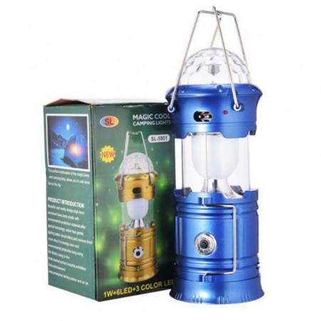 Felinar Led si RGB Disco cu Lanterna si USB, incarcare priza 220V + Panou Solar, albastru