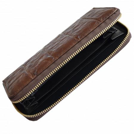 Pachet portofel elegant de dama cu fermoar design caramida maro + ceas elegant de dama kms dreptunghiular