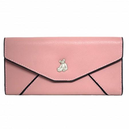 Portofel elegant de dama roz cu ursulet