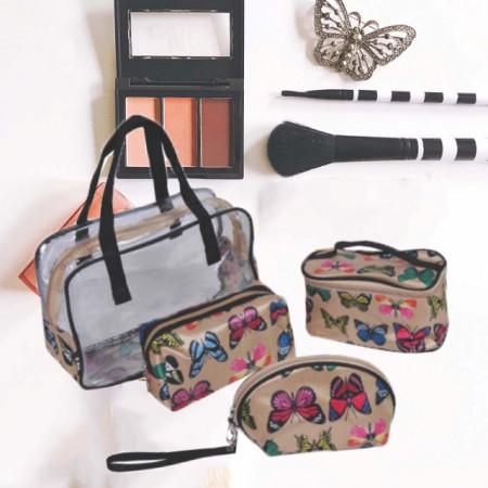 Set trusa portfard pentru depozitare cosmetice, 4 buc, model cu fluturi