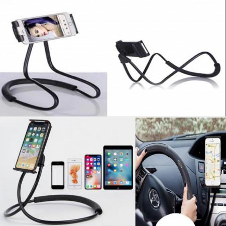 Suport Pufo reglabil 360 grade pentru telefon, model universal, flexibil, negru