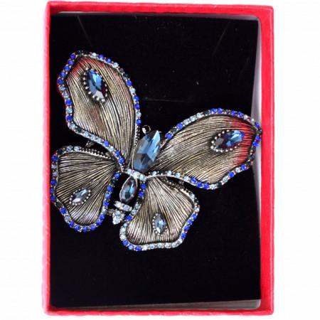 brosa eleganta fluture cu pietriccele bleumarin