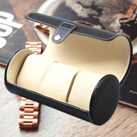 Cutie caseta depozitare si transport pentru 3 ceasuri, negru
