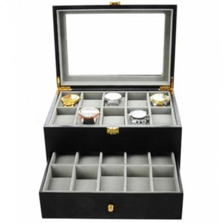 Cutie caseta din lemn pentru depozitare si organizare 20 ceasuri, model Premium cu sertar, Pufo