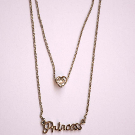 Lantisor Princess cu pandantiv inima, argintiu
