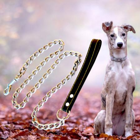 Lesa Pufo pentru caini de talie mare din lant cromat 4 mm x 120 cm, rezistent, maner piele, Argintiu/Negru