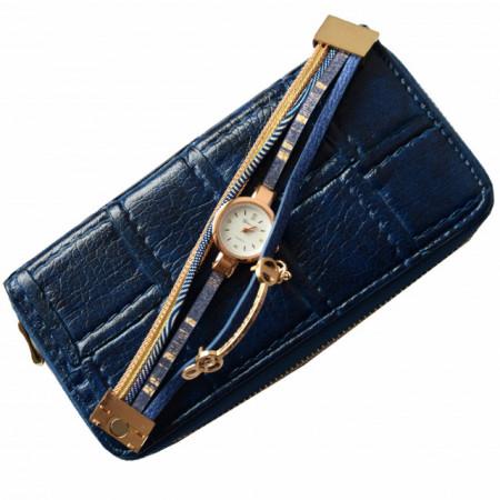 Pachet portofel elegant de dama cu fermoar design caramida albastru inchis + ceas albastru cu inchizatoare tip bratara