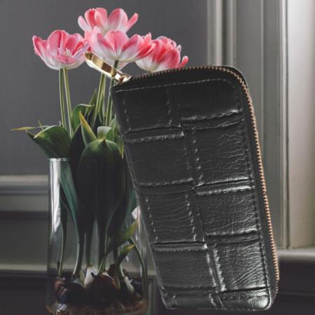 Portofel elegant de dama cu fermoar 20 cm x 10 cm, negru