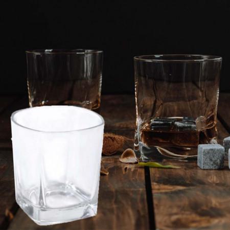 Set 6 pahare Pufo Double cu fund patrat din sticla pentru whisky, 355 ml