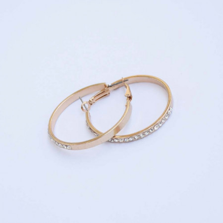 Set cercei rotunzi, model Shiney gold, cu pietricele