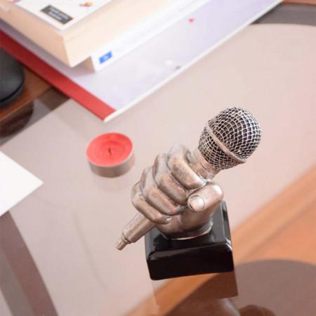 Trofeu microfon Pufo, tip statueta, argintiu