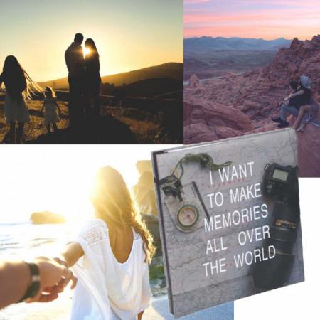Album foto Pufo pentru poze de diferite dimensiuni, model Make memories all over the world, 30 pagini