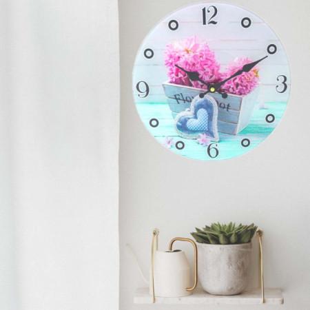 Ceas de perete Pufo din sticla, model Zambila roz, 30 cm