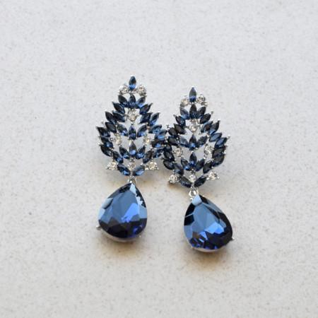 Cercei eleganti de dama, lungi in forma de spic, bleumarin
