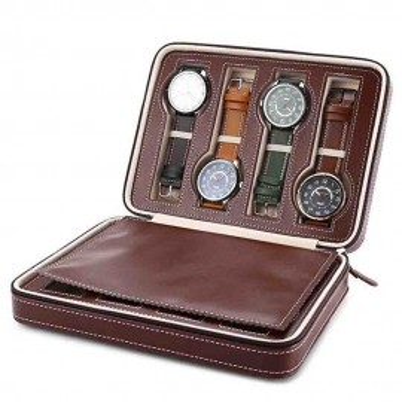 Cutie caseta depozitare si transport pentru 8 ceasuri, maro
