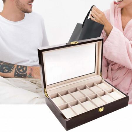 Cutie caseta din lemn pentru depozitare si organizare 12 ceasuri, model Pufo Premium, maro inchis
