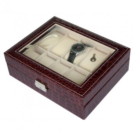 Cutie caseta eleganta depozitare cu compartimente pentru 10 ceasuri, imprimeu crocodil, model Premium cu cheita, visiniu, Pufo