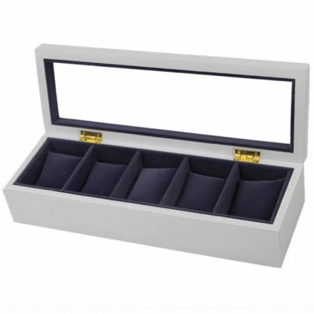 Cutie caseta eleganta din lemn pentru depozitare si organizare 5 ceasuri, model Pufo Gentle cu interior si pernute de catifea, alb