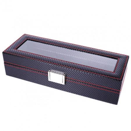 Cutie caseta pentru depozitare si organizare 6 ceasuri, model Pufo Glossy Royal