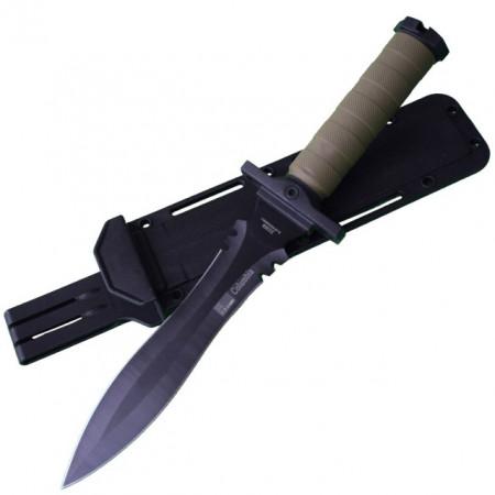 Cutit baioneta cu lama dubla, 34.5 cm Army Style, maner ergonomic cauciucat, teaca inclusa