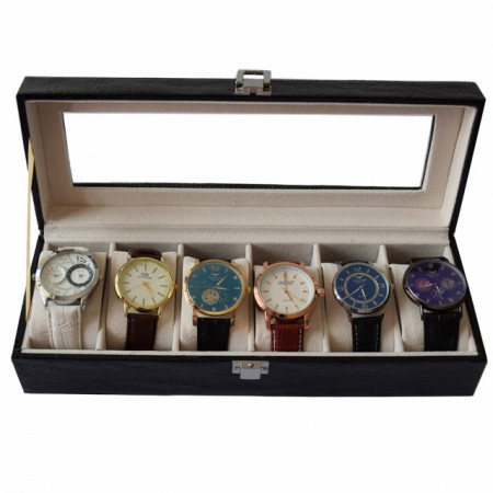 Oferta! Caseta eleganta depozitare cu compartimente pentru 6 ceasuri, imprimeu crocodil negru + 6 ceasuri barbatesti