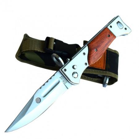 Pachet cutit briceag inscriptionat AK-47 CCCP 27 cm, husa camuflaj din material textil + prastie metalica de buzunar cu cauciuc natural, latex, rezistent