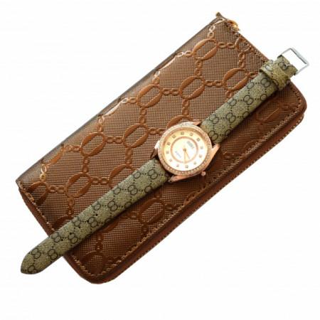 Pachet portofel elegant de dama cafeniu + Ceas elegant de dama Lost Queen