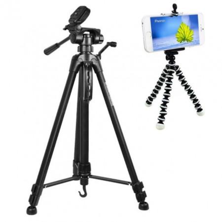 Pachet Trepied foto telescopic Weifeng WT-3540 universal 61-157 cm, negru + Trepied flexibil cu suport pentru telefon mobil sau aparat foto, Pufo