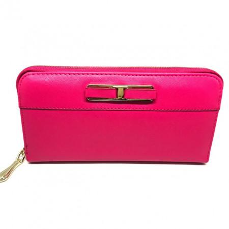 Portofel elegant de dama cu compartimente, roz