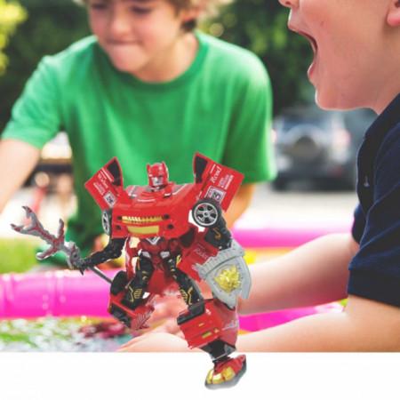 Robot transformabil Pufo cu arma si scut, rosu, 40 cm