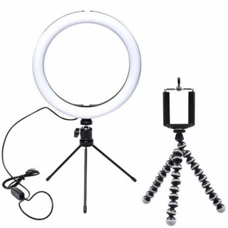 set lampa circulara pentru selfie si trepied pentru telefon