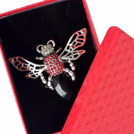 Brosa dama eleganta in forma de bondar, rosu cu negru, Red bumble-bee
