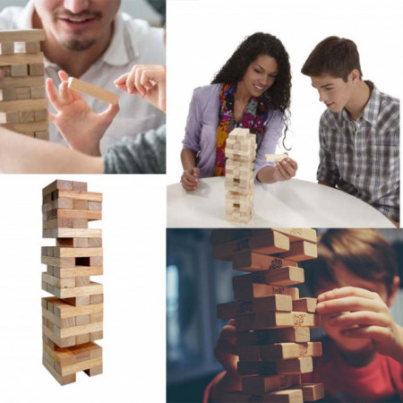 Joc de coordonare si strategie Turnul instabil, din lemn, 48 piese